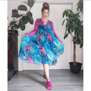 BOLD BLUE MAGENTA GREEN COLORED PLEATED DRESS